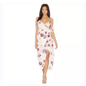 Bardot White Floral Midi Mock Wrap Dress